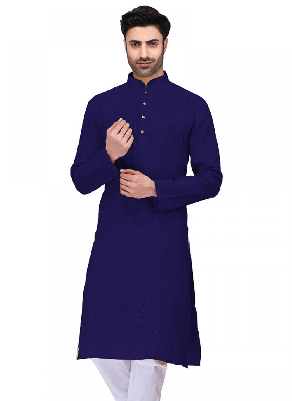 Navy Blue Plain Cotton Kurta