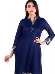 Navy Blue Plain Raw Silk Designer Kurti