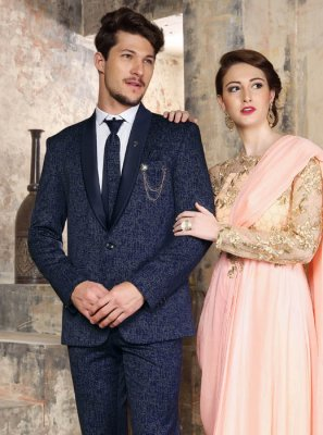 Navy Blue Plain Reception Coats & Blazers