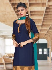 Navy Blue Print Crepe Silk Churidar Suit