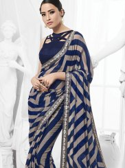 Navy Blue Printed Trendy Saree