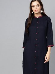 Navy Blue Rayon Fancy Casual Kurti