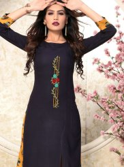 Navy Blue Rayon Machine Embroidery  Casual Kurti