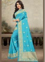 Navy Blue Reception Art Silk Designer Traditional Saree