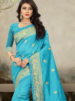 Navy Blue Reception Art Silk Designer Traditional Saree