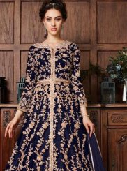 Navy Blue Reception Fancy Fabric Long Choli Lehenga
