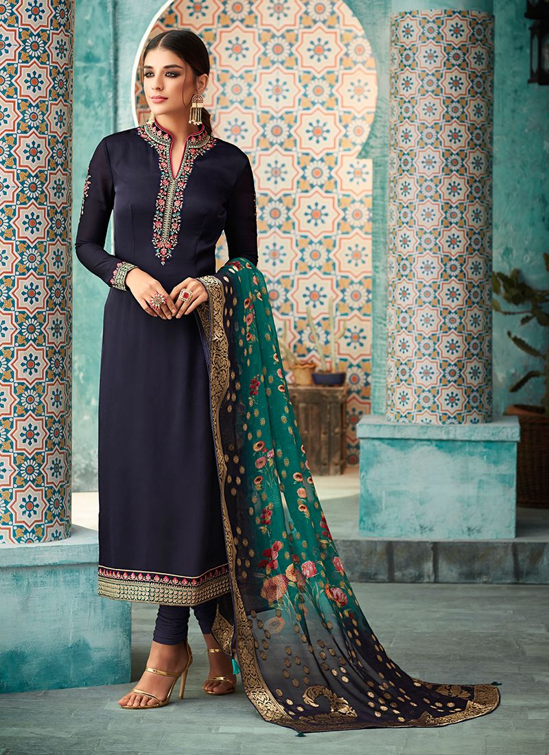 Navy Blue Resham Faux Georgette Churidar Designer Suit