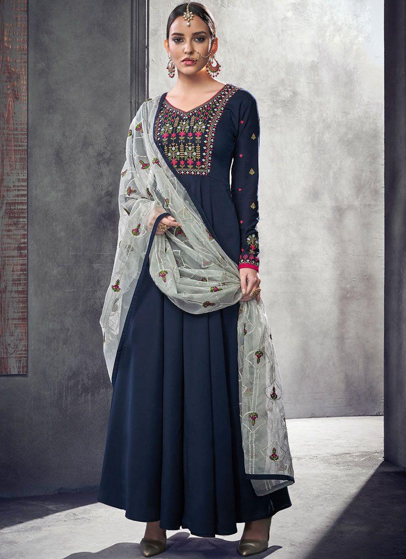 Navy Blue Resham Muslin Readymade Anarkali Suit