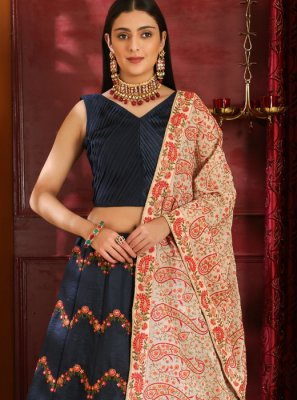 Navy Blue Resham Wedding Lehenga Choli
