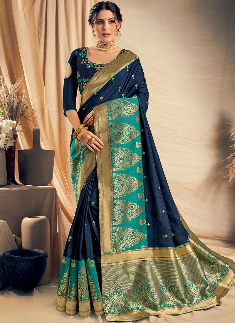 Navy Blue Satin Silk Ceremonial Classic Saree