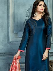 Navy Blue Satin Silk Churidar Salwar Kameez