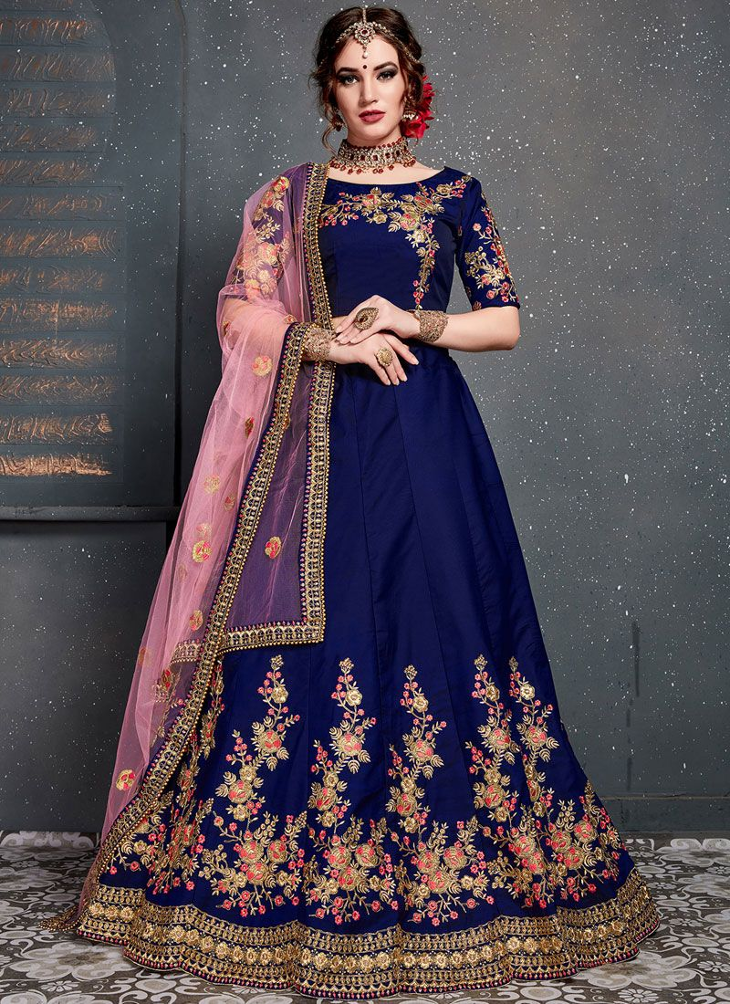 Navy Blue Satin Silk Designer Lehenga Choli