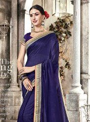Navy Blue Silk Embroidered Trendy Saree