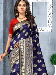 Navy Blue Silk Silk Saree