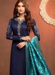 Navy Blue Stone Work Cotton Silk Churidar Salwar Kameez