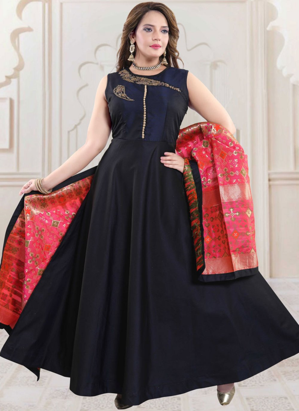 Navy Blue Tafeta Silk Handwork Readymade Suit