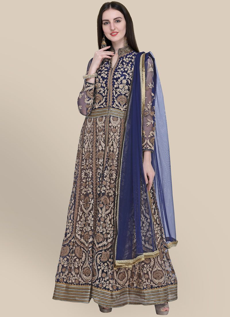 Navy Blue Trendy Anarkali Suit