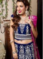 Navy Blue Velvet Wedding Trendy Lehenga Choli