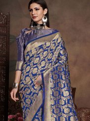 Navy Blue Weaving Art Silk Casual Saree