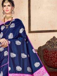 Navy Blue Weaving Art Silk Traditional Saree