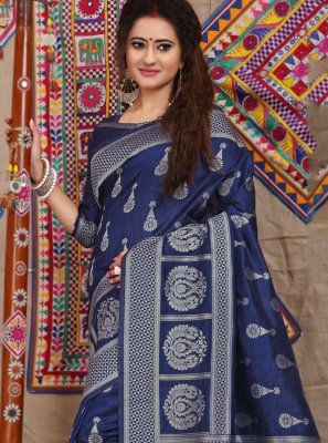 Navy Blue Weaving Fancy Fabric Designer Traditional Saree