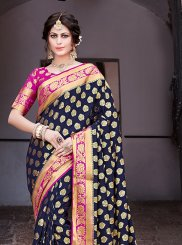 Navy Blue Weaving Festival Traditional Saree