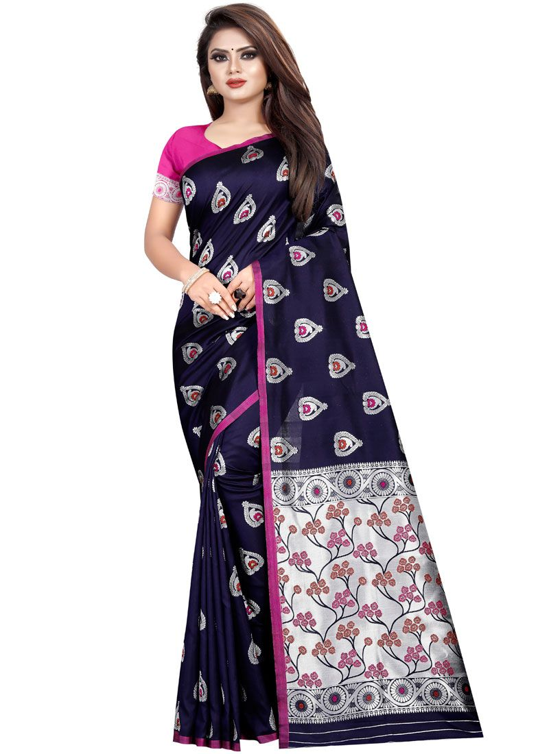 Navy Blue Weaving Party Classic Saree