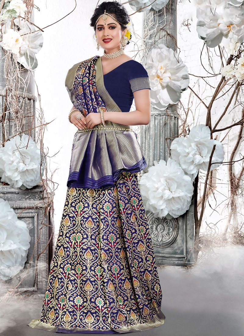 Navy Blue Weaving Traditional Designer Saree