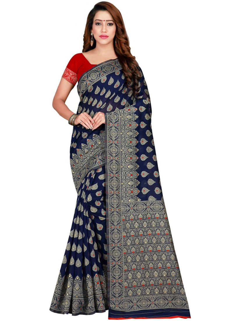 Navy Blue Weaving Trendy Saree