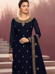 Navy Blue Wedding Georgette Churidar Designer Suit
