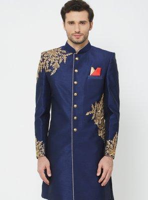 Navy Blue Wedding Sherwani