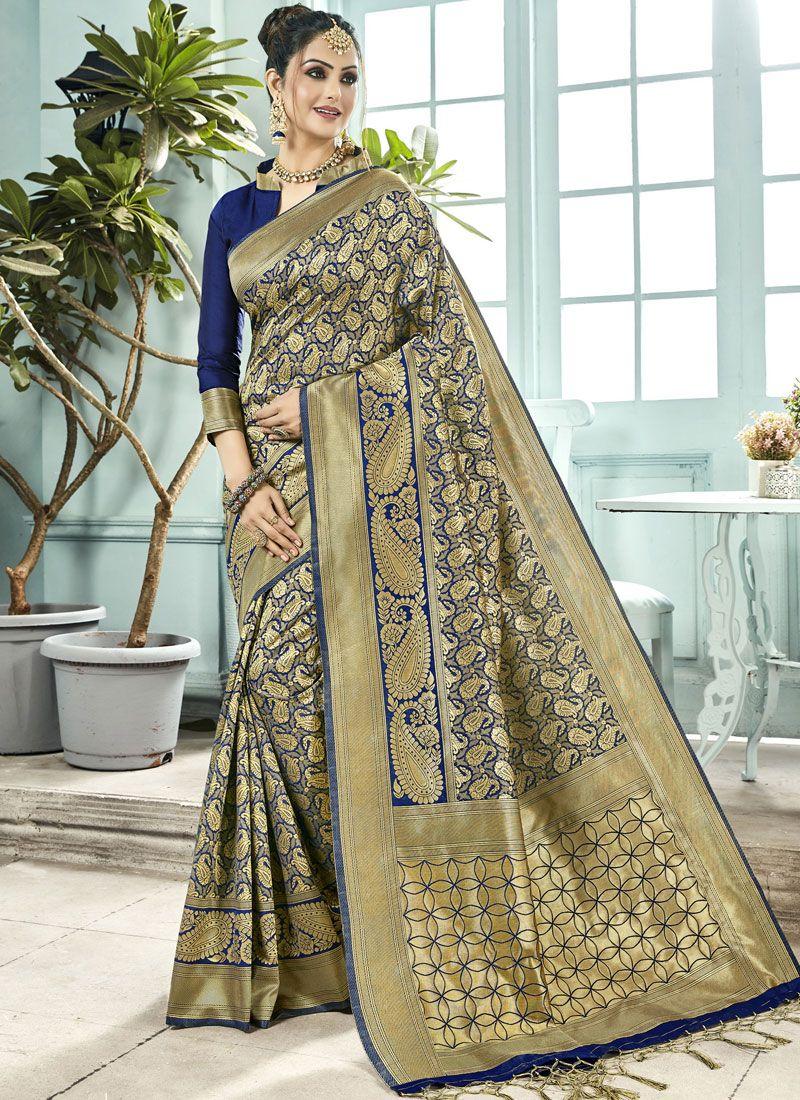 Navy Blue Woven Art Silk Traditional Designer Saree