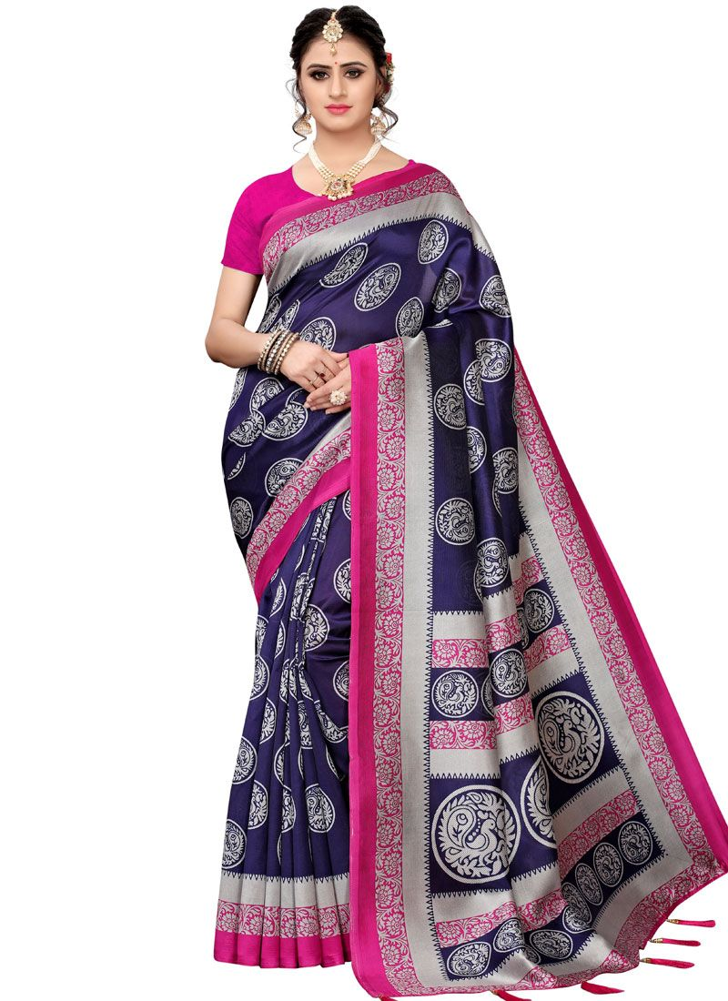 Navy Blue Woven Art Silk Traditional Saree