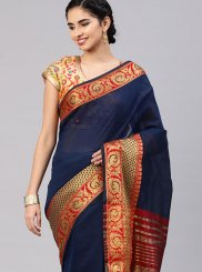 Navy Blue Woven Cotton Silk Traditional Saree