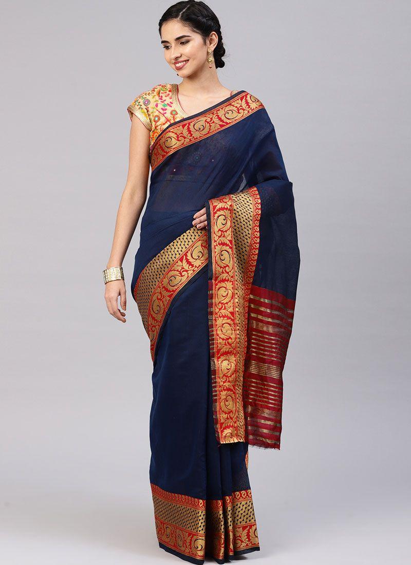 Navy Blue Woven Cotton Silk Traditional Saree
