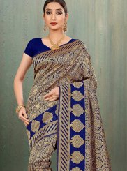 Navy Blue Woven Traditional Saree