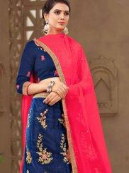 Navy Blue Zari Tafeta Silk Designer Lehenga Choli