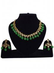 Necklace Set Stone Work in Gold and Green