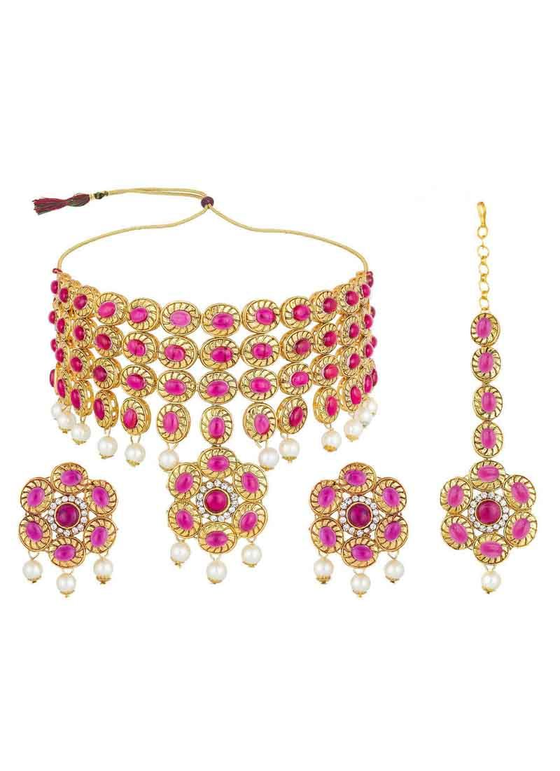 Necklace Set Stone Work in Gold and Magenta