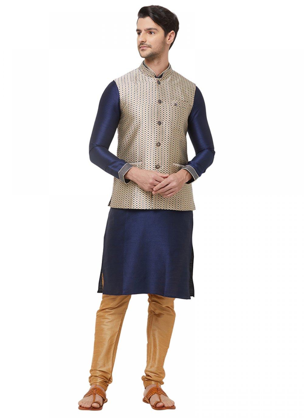 Nehru Jackets Print Brocade in Gold