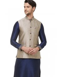Nehru Jackets Print Brocade in Gold