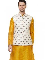 Nehru Jackets Printed Art Silk in Cream