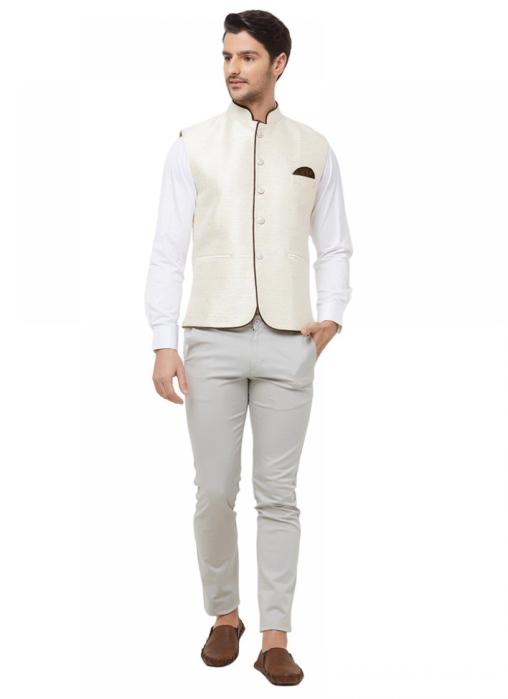 Nehru Jackets Printed Art Silk in Off White
