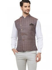 Nehru Jackets Printed Blended Cotton in Brown
