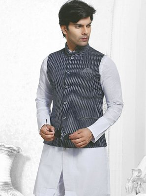 Nehru Jackets Printed Jacquard in Navy Blue