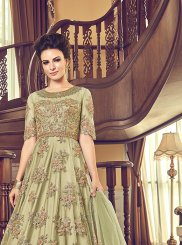 Net Anarkali Salwar Kameez in Green