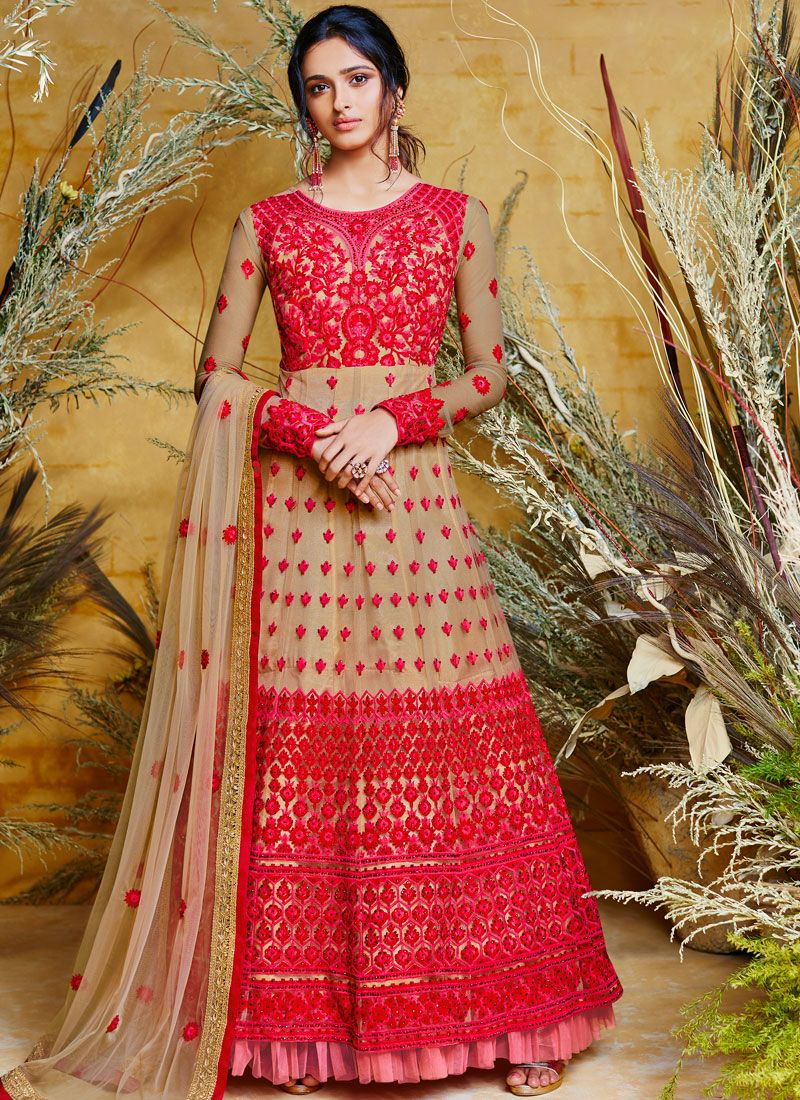 Net Beige and Red Embroidered Floor Length Anarkali Suit