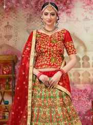 Net Beige and Red Embroidered Lehenga Choli