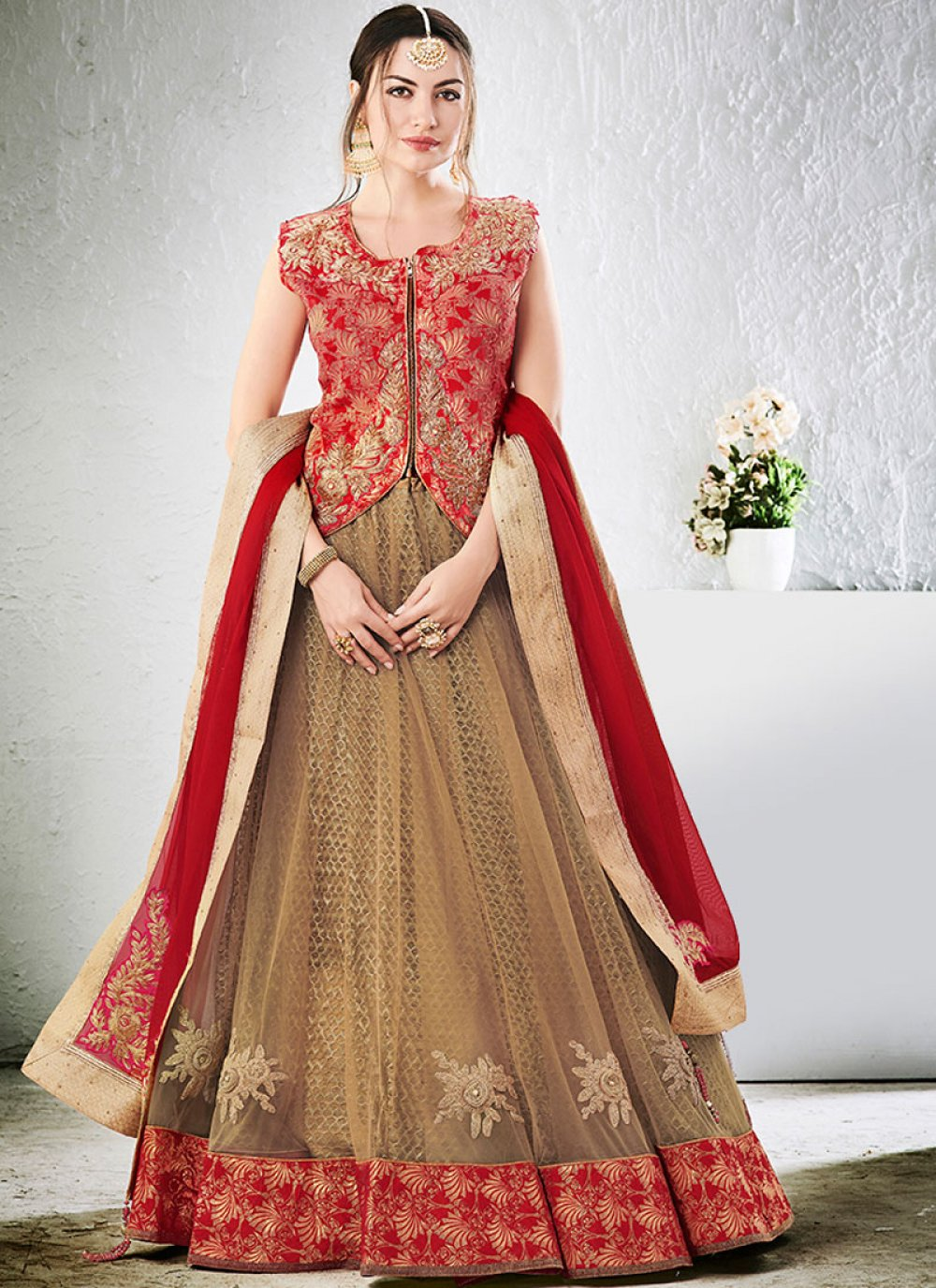 Net Beige and Red Lehenga Choli
