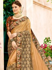 Net Beige Embroidered Classic Designer Saree